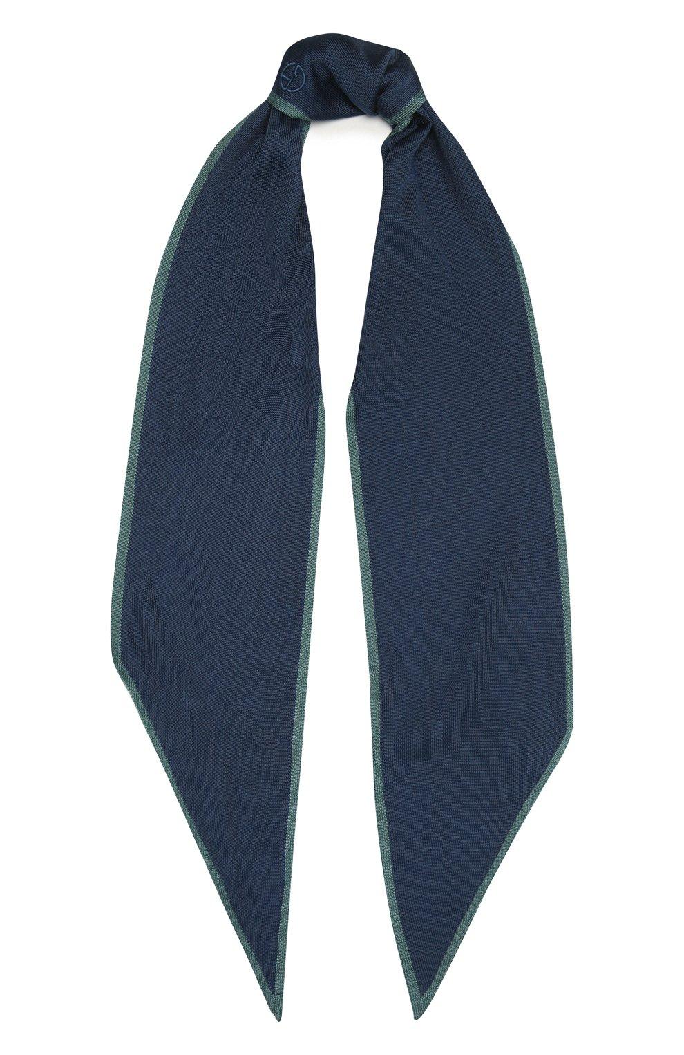 Мужской шелковый шарф GIORGIO ARMANI темно-синего цвета, арт. 745121/1P121   Фото 1