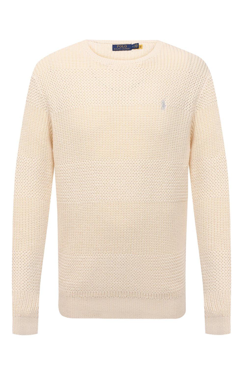 Мужской хлопковый свитер POLO RALPH LAUREN кремвого цвета, арт. 710835828   Фото 1 (Рукава: Длинные; Принт: Без принта; Длина (для топов): Стандартные; Материал внешний: Хлопок; Мужское Кросс-КТ: Свитер-одежда; Стили: Кэжуэл)