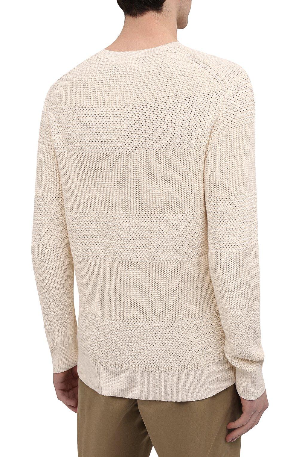 Мужской хлопковый свитер POLO RALPH LAUREN кремвого цвета, арт. 710835828   Фото 4 (Рукава: Длинные; Принт: Без принта; Длина (для топов): Стандартные; Материал внешний: Хлопок; Мужское Кросс-КТ: Свитер-одежда; Стили: Кэжуэл)