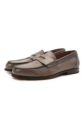 Мужские кожаные пенни-лоферы SANTONI коричневого цвета, арт. MCQU13207LA3S0RME52 | Фото 1 (Случай: Повседневный; Материал внутренний: Натуральная кожа; Стили: Кэжуэл; Мужское Кросс-КТ: Лоферы-обувь)