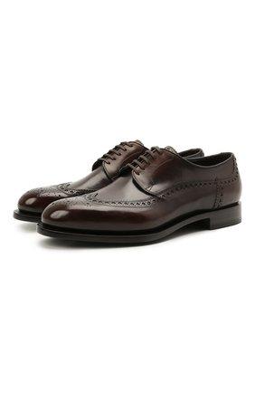 Мужские кожаные дерби SANTONI темно-коричневого цвета, арт. MCC017026MC3HNGWT50 | Фото 1