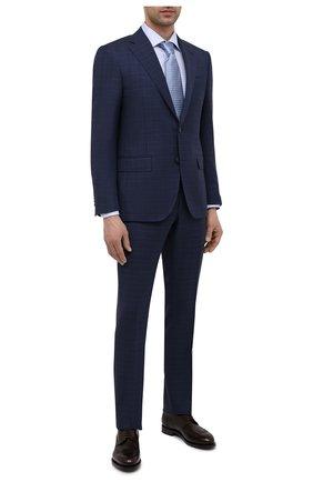 Мужские кожаные дерби SANTONI темно-коричневого цвета, арт. MCC017026MC3HNGWT50 | Фото 2 (Мужское Кросс-КТ: Броги-обувь; Материал внутренний: Натуральная кожа; Стили: Классический)