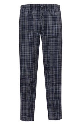 Мужские хлопковые домашние брюки HANRO темно-синего цвета, арт. 075030 | Фото 1 (Кросс-КТ: домашняя одежда; Материал внешний: Хлопок; Длина (брюки, джинсы): Стандартные; Мужское Кросс-КТ: Брюки-белье)