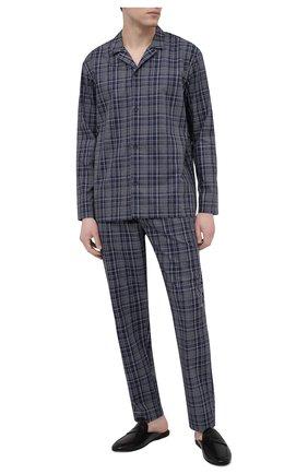 Мужская хлопковая пижама HANRO темно-синего цвета, арт. 075033 | Фото 1 (Рукава: Длинные; Кросс-КТ: домашняя одежда; Длина (для топов): Стандартные; Материал внешний: Хлопок; Длина (брюки, джинсы): Стандартные)