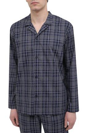 Мужская хлопковая пижама HANRO темно-синего цвета, арт. 075033 | Фото 2 (Рукава: Длинные; Кросс-КТ: домашняя одежда; Длина (для топов): Стандартные; Материал внешний: Хлопок; Длина (брюки, джинсы): Стандартные)