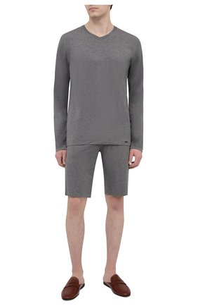 Мужские домашние шорты из вискозы HANRO серого цвета, арт. 075039 | Фото 2 (Материал внешний: Вискоза; Кросс-КТ: домашняя одежда)