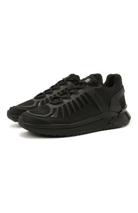 Мужские комбинированные кроссовки BALMAIN черного цвета, арт. VM1C212/LMNR | Фото 1