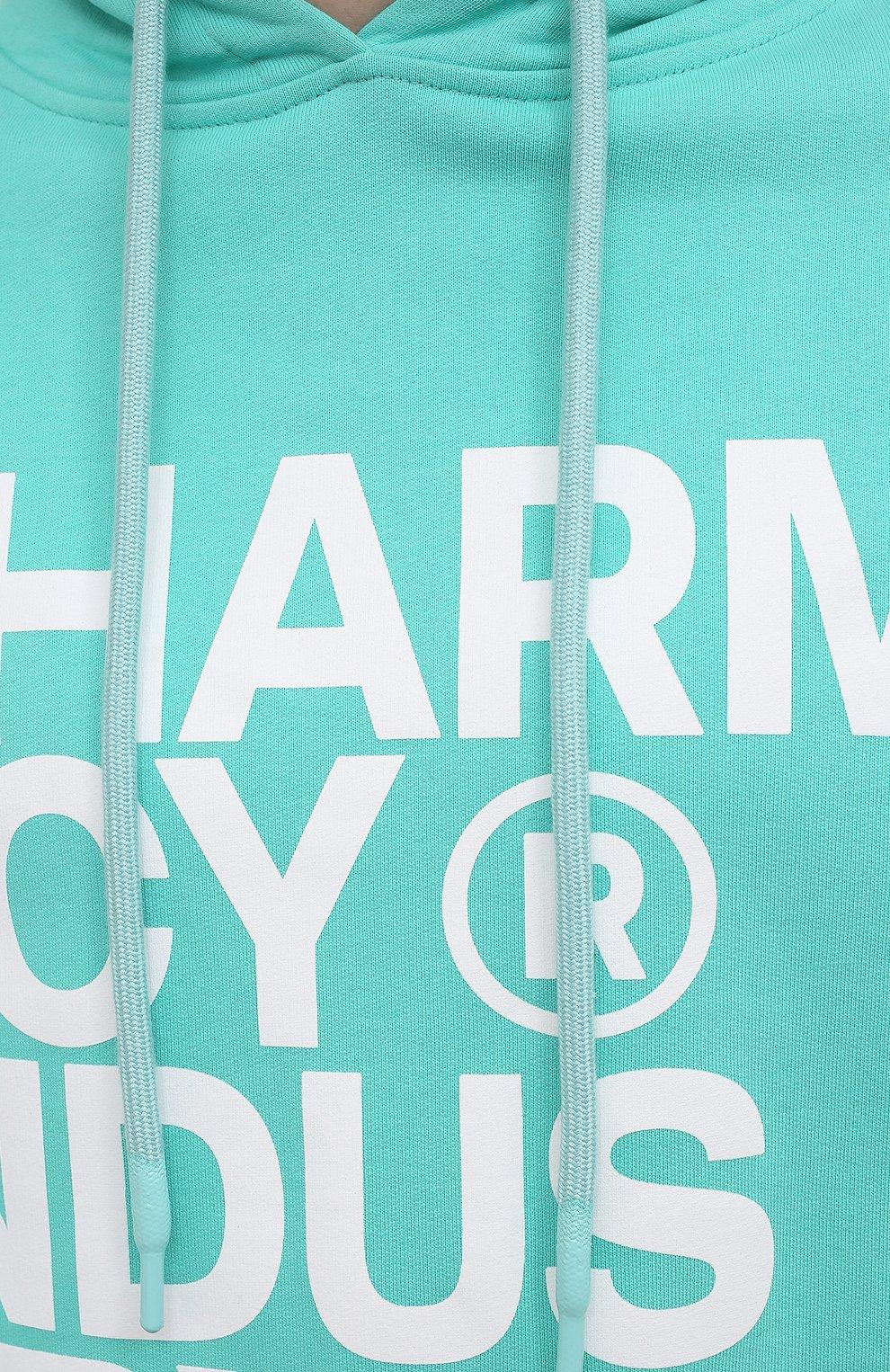 Мужской хлопковое худи PHARMACY INDUSTRY бирюзового цвета, арт. PHM226 | Фото 5