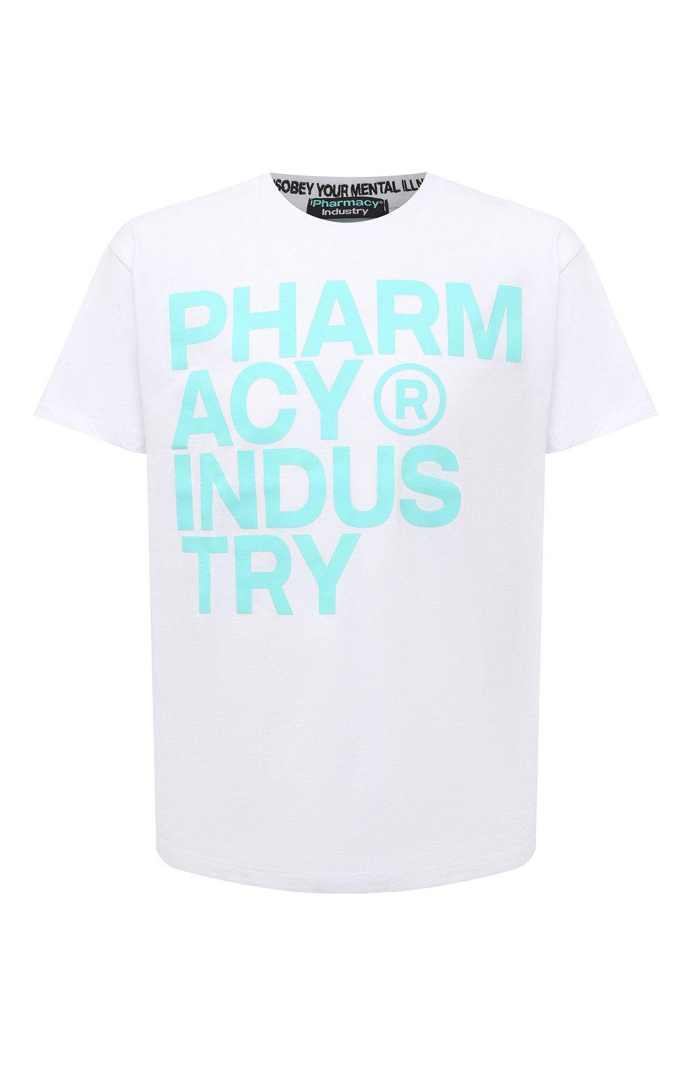 Мужская хлопковая футболка PHARMACY INDUSTRY белого цвета, арт. PHM227   Фото 1