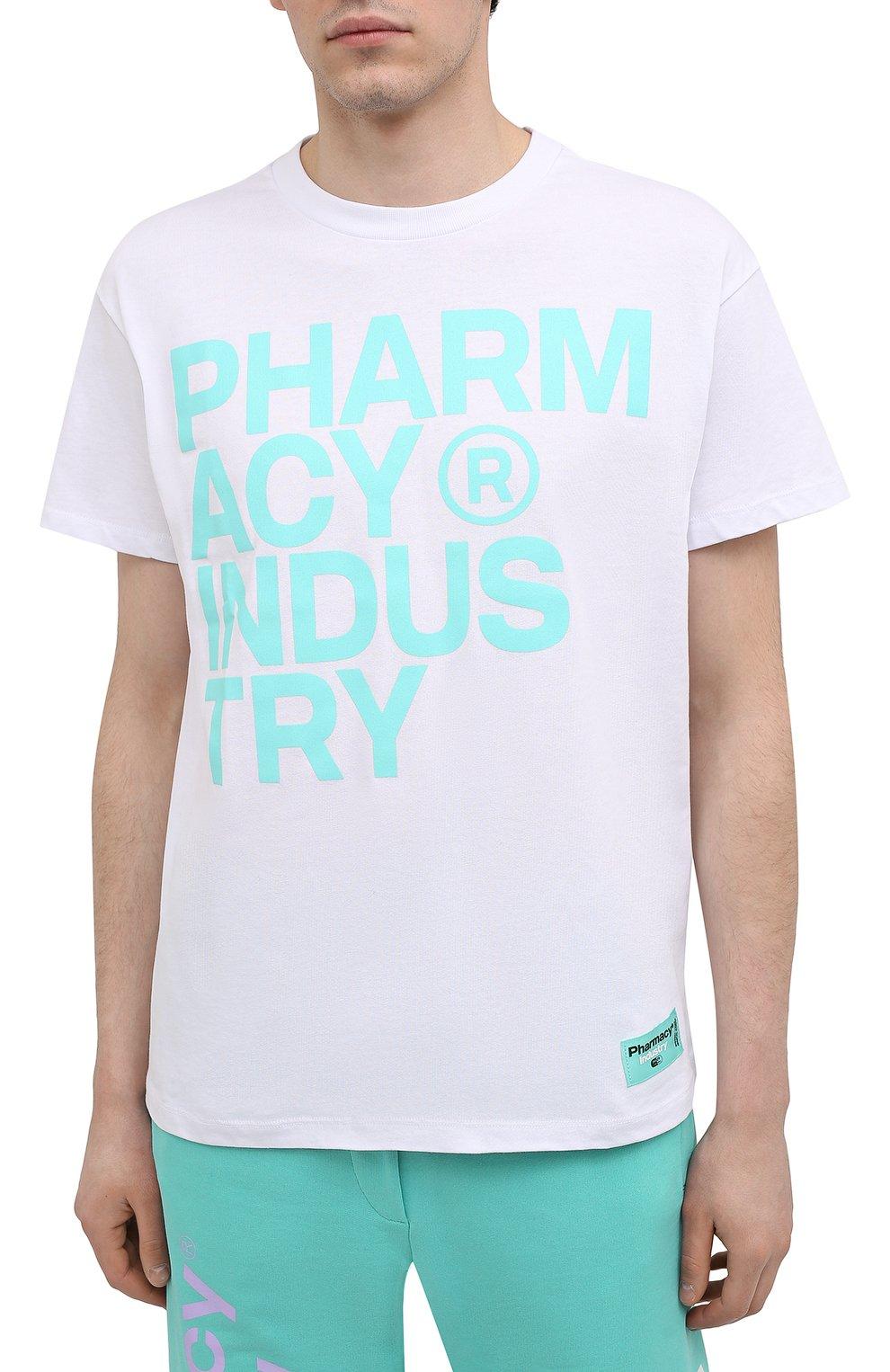 Мужская хлопковая футболка PHARMACY INDUSTRY белого цвета, арт. PHM227   Фото 3