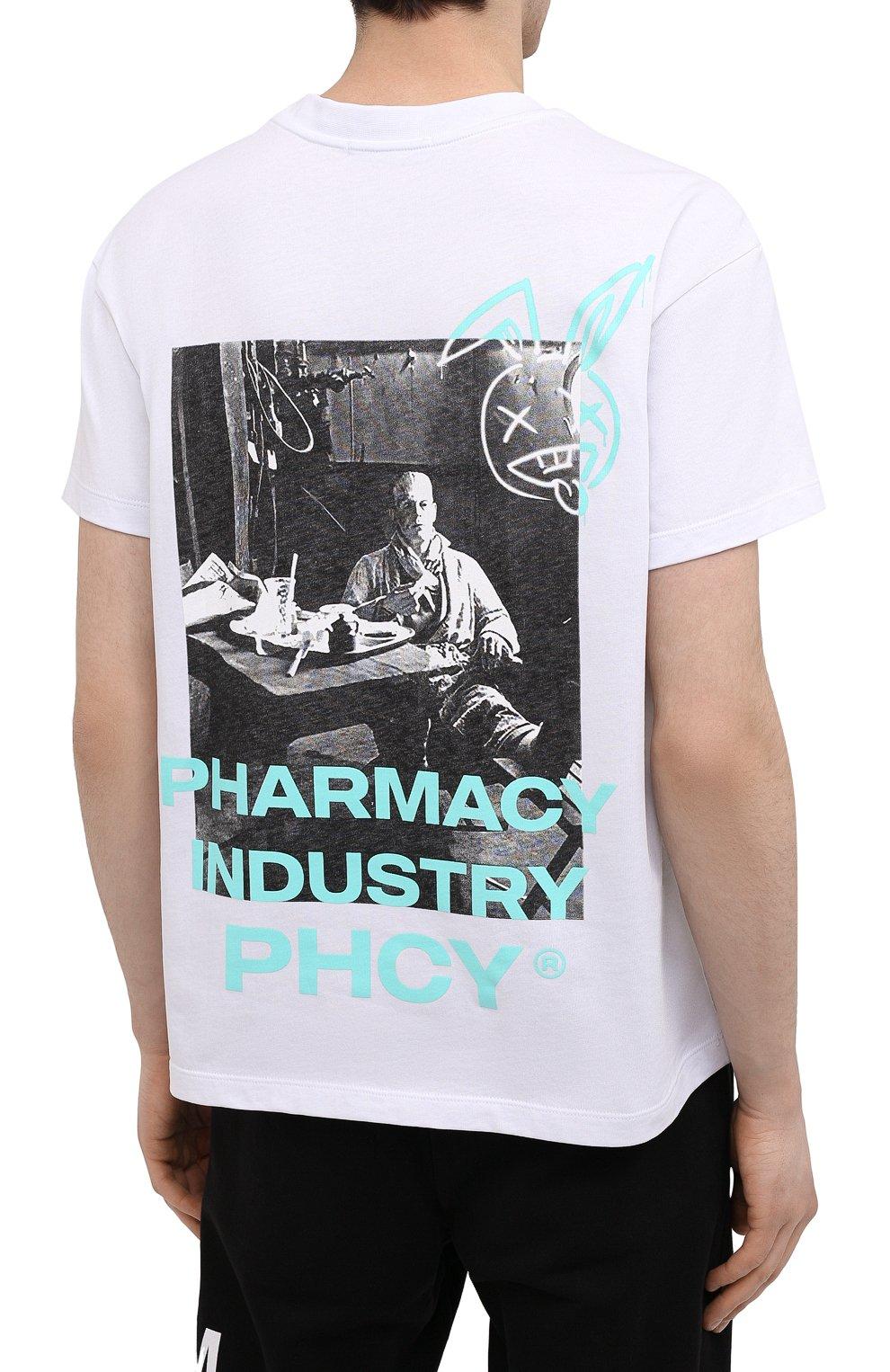 Мужская хлопковая футболка PHARMACY INDUSTRY белого цвета, арт. PHM235 | Фото 4