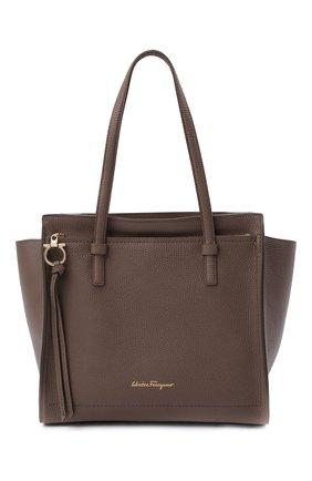 Женский сумка-тоут SALVATORE FERRAGAMO светло-коричневого цвета, арт. Z-0741024 | Фото 1