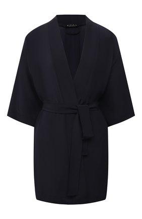Женский шелковый халат SHAN темно-синего цвета, арт. 42121-85 | Фото 1