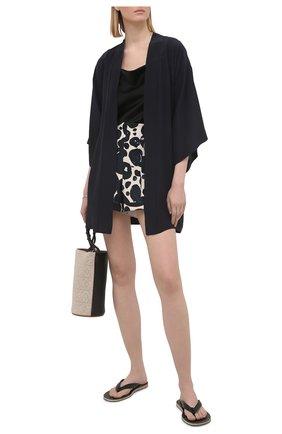Женский шелковый халат SHAN темно-синего цвета, арт. 42121-85 | Фото 2
