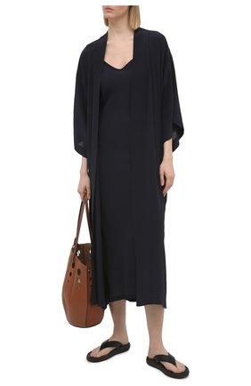 Женский шелковый халат SHAN темно-синего цвета, арт. 42121-86 | Фото 2