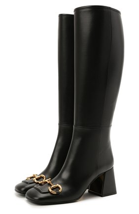 Женские кожаные сапоги GUCCI черного цвета, арт. 643889/BK000   Фото 1
