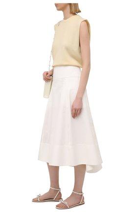 Женские кожаные сандалии REDVALENTINO белого цвета, арт. VQ0S0F82/MEN   Фото 2 (Каблук высота: Низкий; Подошва: Плоская; Материал внутренний: Натуральная кожа)