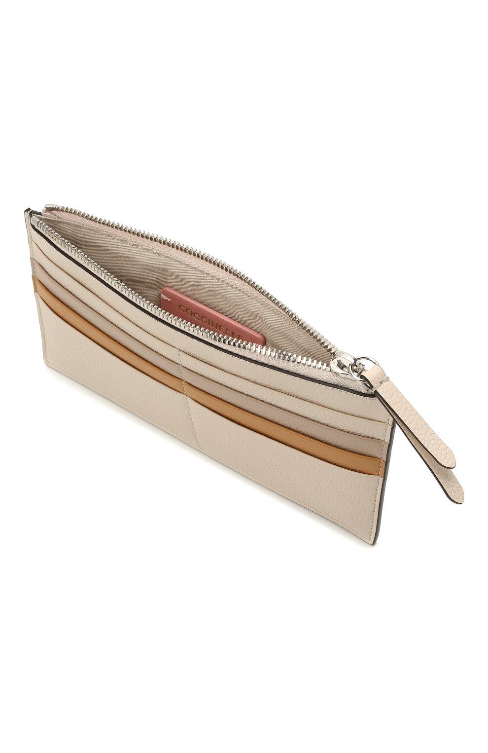Женский кожаный футляр для кредитный карт COCCINELLE бежевого цвета, арт. E5 HV1 19 D1 16 | Фото 3