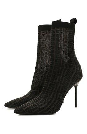 Женские текстильные ботильоны skye monogram BALMAIN черного цвета, арт. VN0TA639/TKMG | Фото 1