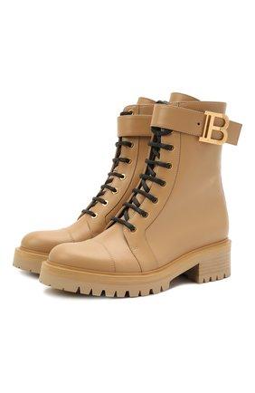 Женские кожаные ботинки BALMAIN бежевого цвета, арт. VN0TC502/LGDT | Фото 1 (Подошва: Платформа; Материал внутренний: Натуральная кожа; Женское Кросс-КТ: Военные ботинки; Каблук высота: Низкий)