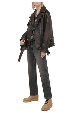 Женские кожаные ботинки BALMAIN бежевого цвета, арт. VN0TC502/LGDT | Фото 2 (Подошва: Платформа; Материал внутренний: Натуральная кожа; Женское Кросс-КТ: Военные ботинки; Каблук высота: Низкий)