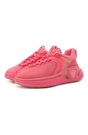 Женские текстильные кроссовки b runner BALMAIN розового цвета, арт. VN1C589/TMNY   Фото 1 (Материал внутренний: Натуральная кожа, Текстиль; Подошва: Платформа; Материал внешний: Текстиль)