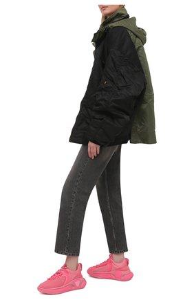Женские текстильные кроссовки b runner BALMAIN розового цвета, арт. VN1C589/TMNY   Фото 2 (Материал внутренний: Натуральная кожа, Текстиль; Подошва: Платформа; Материал внешний: Текстиль)
