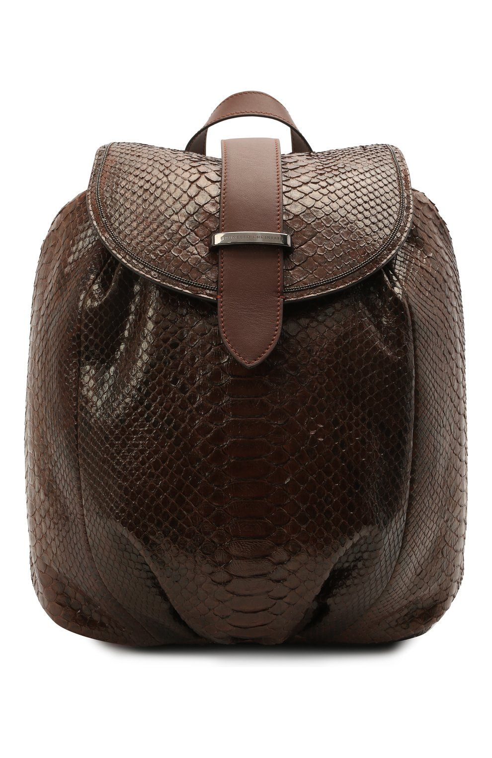 Женский рюкзак из кожи питона BRUNELLO CUCINELLI коричневого цвета, арт. MBCDD2199/PRET   Фото 1