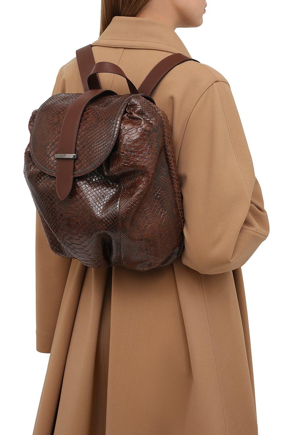 Женский рюкзак из кожи питона BRUNELLO CUCINELLI коричневого цвета, арт. MBCDD2199/PRET   Фото 2