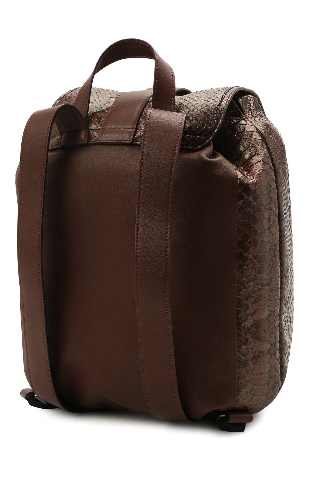 Женский рюкзак из кожи питона BRUNELLO CUCINELLI коричневого цвета, арт. MBCDD2199/PRET   Фото 3