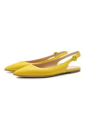 Женские кожаные балетки anna GIANVITO ROSSI желтого цвета, арт. G95026.05CU0.VITMIM0 | Фото 1