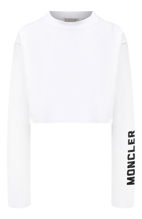 Женская хлопковый лонгслив MONCLER белого цвета, арт. G1-093-8D706-10-829HP | Фото 1