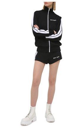 Женские шорты PALM ANGELS черного цвета, арт. PWCB003S21FAB0011001 | Фото 2 (Стили: Спорт-шик; Материал внешний: Синтетический материал; Женское Кросс-КТ: Шорты-одежда; Длина Ж (юбки, платья, шорты): Мини)