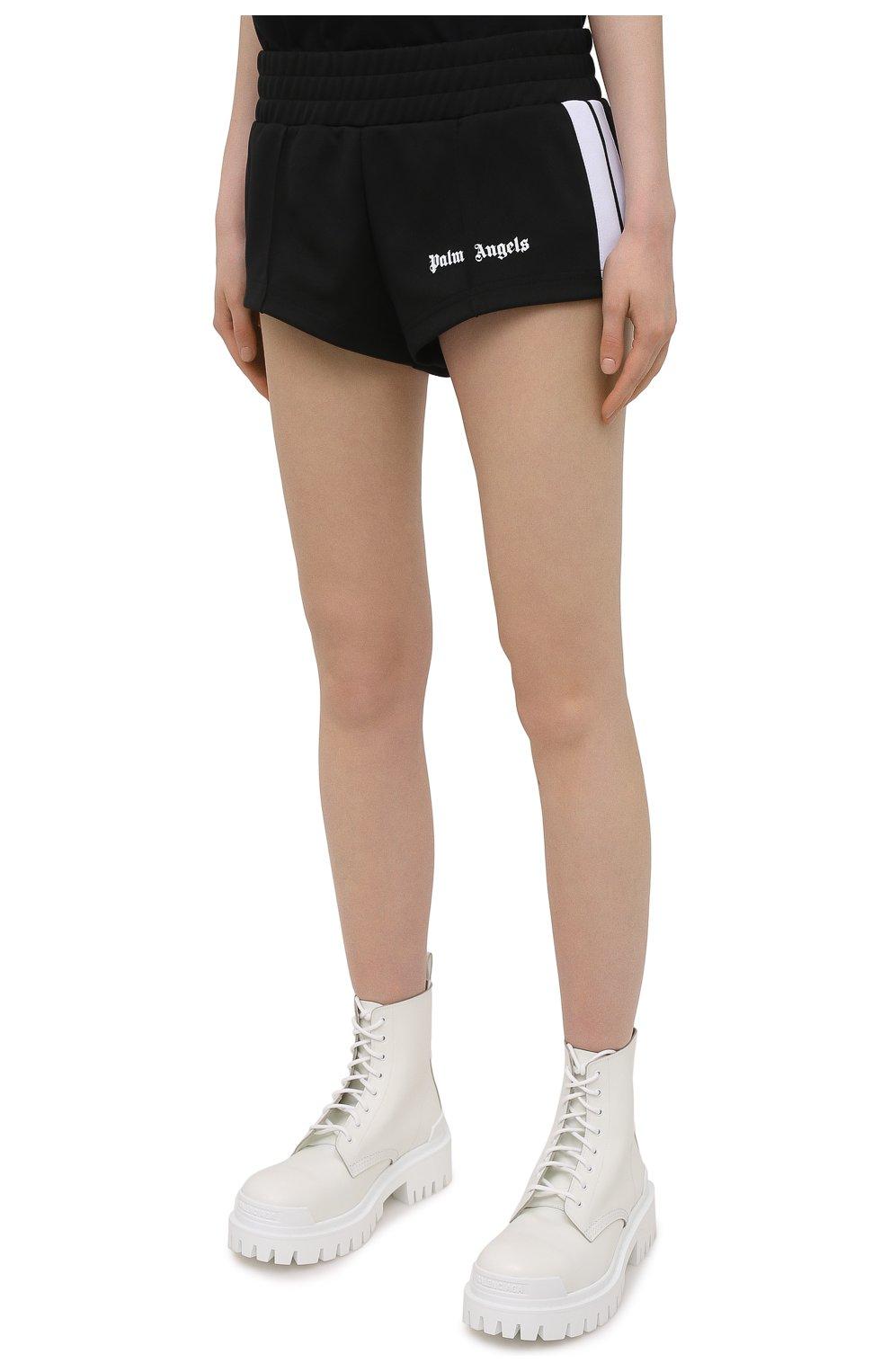 Женские шорты PALM ANGELS черного цвета, арт. PWCB003S21FAB0011001 | Фото 3