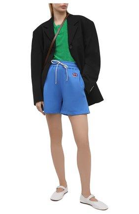 Женские шорты GUCCI синего цвета, арт. 650630/XJDCZ | Фото 2 (Стили: Спорт-шик; Материал внешний: Синтетический материал; Длина Ж (юбки, платья, шорты): Мини; Женское Кросс-КТ: Шорты-одежда)