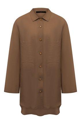 Женская рубашка из вискозы и льна PIETRO BRUNELLI темно-бежевого цвета, арт. CA0170/LI0023   Фото 1