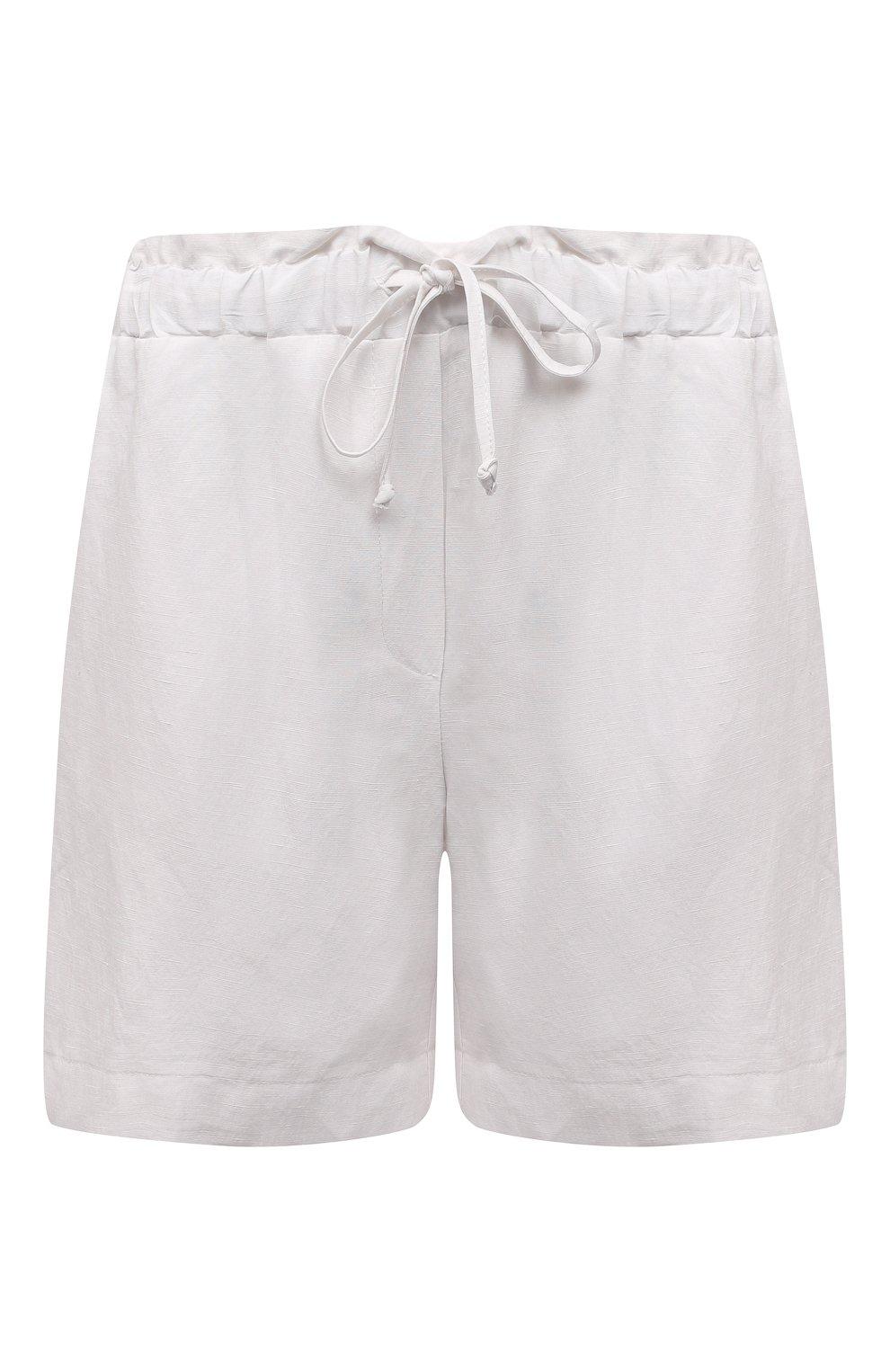 Женские шорты из вискозы и льна PIETRO BRUNELLI белого цвета, арт. PN0194/LI0017   Фото 1