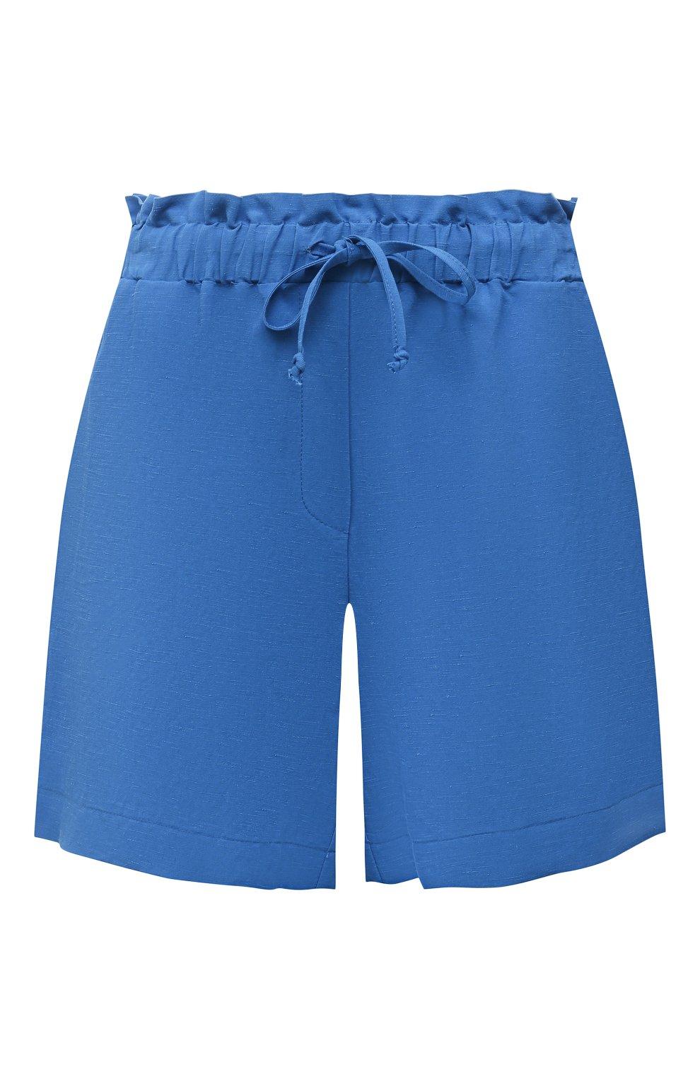 Женские шорты из вискозы и льна PIETRO BRUNELLI синего цвета, арт. PN0194/LI0017   Фото 1