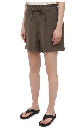 Женские шорты из вискозы PIETRO BRUNELLI хаки цвета, арт. PN0194/VI0078 | Фото 3