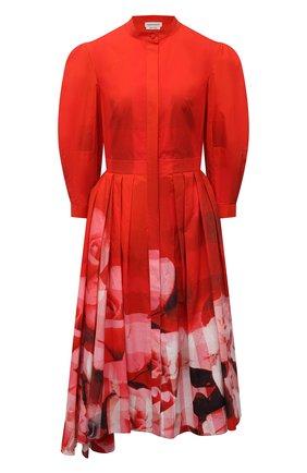 Женское хлопковое платье ALEXANDER MCQUEEN красного цвета, арт. 651669/QCACE | Фото 1