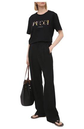Женская хлопковая футболка EMILIO PUCCI черного цвета, арт. 1ETP73/1E987 | Фото 2