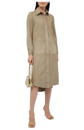 Женское замшевое платье SIMONETTA RAVIZZA бежевого цвета, арт. S01SH06S1/333   Фото 2