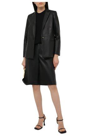 Женские кожаные шорты SIMONETTA RAVIZZA черного цвета, арт. S01ST03L1/001 | Фото 2