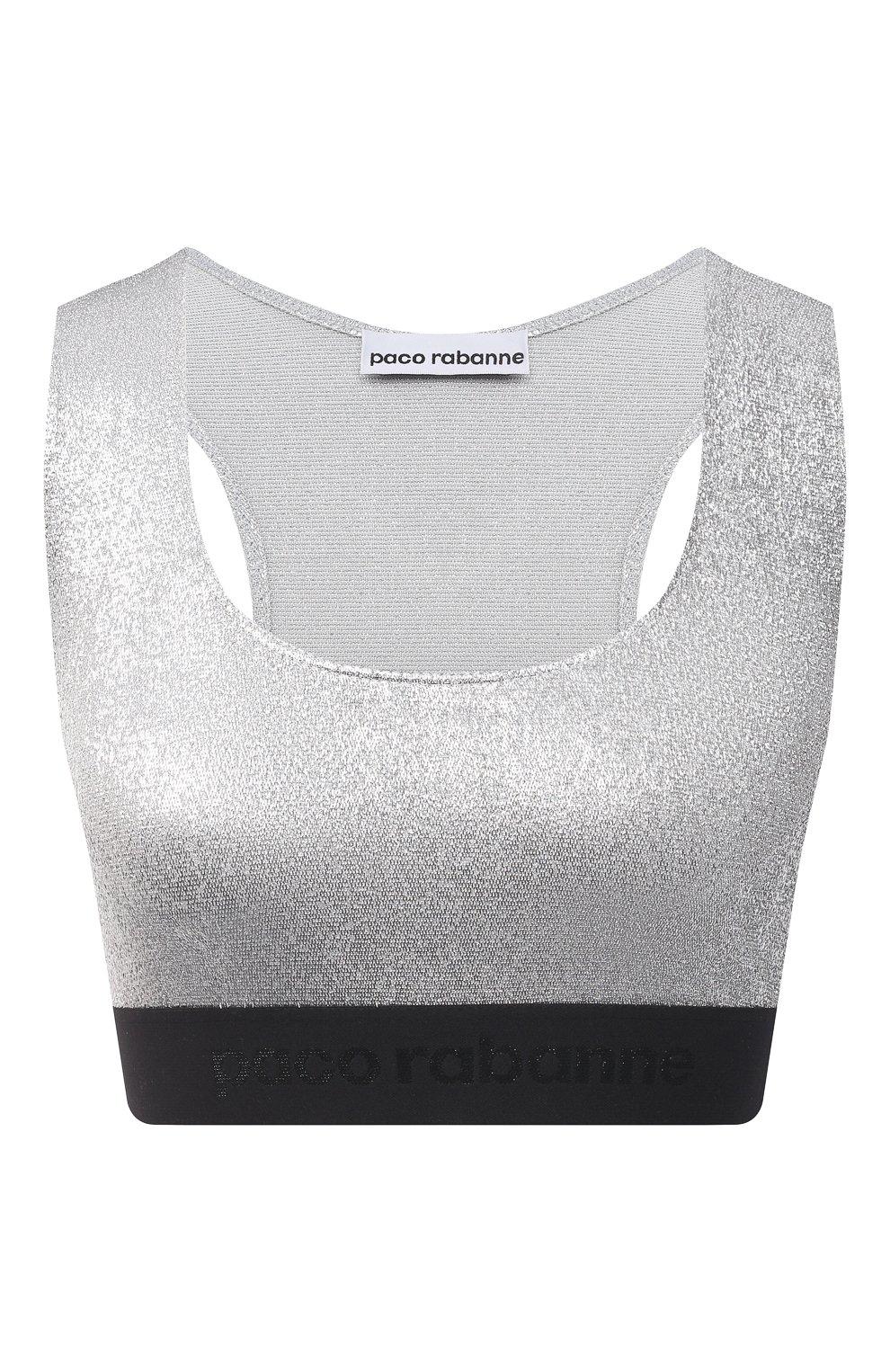 Женский бра-топ из вискозы PACO RABANNE серебряного цвета, арт. 20PJT0001VI0222 | Фото 1