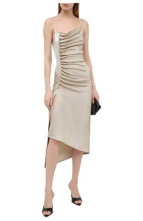Женское платье из вискозы PACO RABANNE золотого цвета, арт. 21PJR0308VI0261 | Фото 2