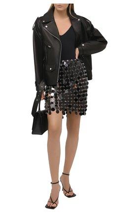 Женская юбка PACO RABANNE черного цвета, арт. 20AIJU010PS0133 | Фото 2