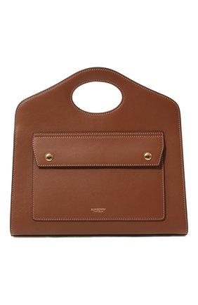 Женская сумка pocket small BURBERRY коричневого цвета, арт. 8036745 | Фото 1 (Материал: Натуральная кожа; Сумки-технические: Сумки через плечо, Сумки top-handle; Ремень/цепочка: На ремешке; Размер: small)