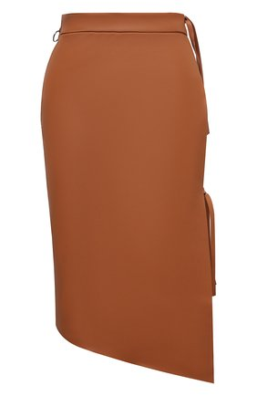 Женская кожаная юбка OFF-WHITE светло-коричневого цвета, арт. 0WJC010S21LEA001 | Фото 1