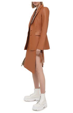 Женская кожаная юбка OFF-WHITE светло-коричневого цвета, арт. 0WJC010S21LEA001 | Фото 2