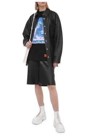 Женская хлопковая футболка HERON PRESTON черного цвета, арт. HWAA023R21JER0031040 | Фото 2